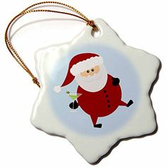 Janna Salak Designs Christmas  Tipsy Santa  3 inch Snowflake Porcelain Ornament orn_237113_1 * This is an Amazon Affiliate link. Want to know more, click on the image.