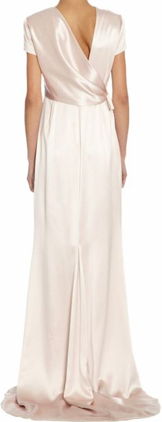 Back as elegant as the front.  Katie Ermilio Satin Cap-Sleeve Floor Length Gown at Barneys.com