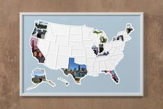 Add your own photos to each of the 50 US states to capture a lifetime of memories and create a one-of-a-kind map showing where youve been or where youre going. This USA photo map makes a great gift for anyone with the goal of visiting all 50 states. If youre looking for an added