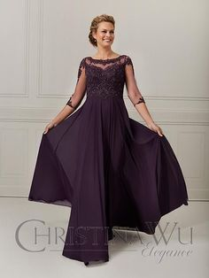 A Line Evening Dress, Evening Dresses With Sleeves, Evening Gowns, Sheer Sleeve Dress, Chiffon Dress, Lace Dress, Christina Wu, Mother Of The Bride Gown, Lace Bodice