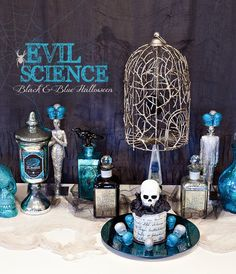 I'm in love with this one...Evil Science Halloween Party...black, blue, and silver!