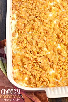This homestyle Cheesy Hashbrown Casserole is true comfort food. It makes an appearance at all family gatherings!