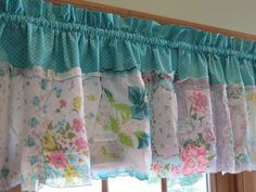 French Country Timeless Turquoise Tapestry Handkerchief Valance / Curtains on Etsy, $65.00