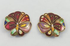 Large Butterflies Champleve Enamel Cloisonne Signed David Kuo Clip On Earrings by Framarines on Etsy