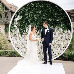 20 Jaw-Dropping Flower Walls For Any Occasion - Wilkie Blog! - White Floral and Greenery Wedding Backdrop