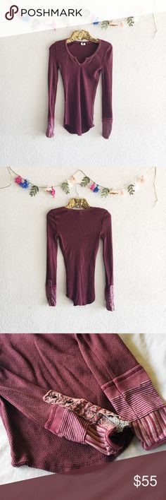 Free People Kyoto Cuff Thermal A waffle-knit Free People top has a grunge-inspired edge with distressed patchwork at the cuffs. Split-V neckline.  Fabric: Waffle knit. 57% cotton/38% polyester/5% spandex. Trim: 100% cotton. Free People Tops Tees - Long Sleeve