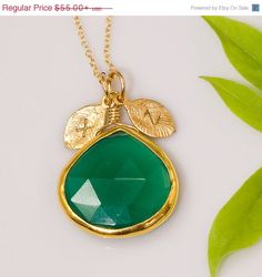 SALE  Green Onyx Necklace  Personalized Necklace  by delezhen