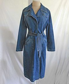 Vintage Guess Denim Jean Trench Coat Wrap Robe Maxi Military Nos Deadstock L by backtocapri on Etsy https://www.etsy.com/listing/196220569/vintage-guess-denim-jean-trench-coat
