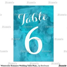 Watercolor Romance Wedding Table Numbers