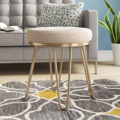 Beachcrest Home Gwyneth Backless Vanity Stool Joss And Main, Faux Fur Stool, Ceramic Garden Stools, Gold Cushions, Chair Cushions, Chair Side Table, Side Tables, Vanity Stool, Folding Stool