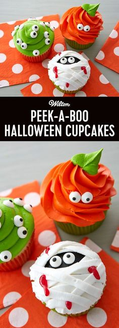 Peek-a-Boo Halloween Cupcakes - This Halloween, all eyes will be on the cupcakes that look back at you! Serve them to all the trick-or-treating mini monsters and ghouls, plus the costumed adults who show up at your door. But make a double batch, as these Boo Halloween, Muffins Halloween, Halloween Cupcakes Easy, Dessert Halloween, Halloween Food For Party, Halloween Cookies, Holidays Halloween, Halloween Treats, Halloween Decorations