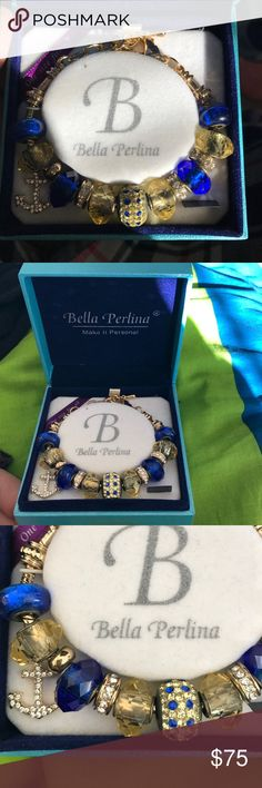 Bella Perlina Bracelet Beautiful and brand new in box, never worn. Gold and blue theme with pretty diamond anchor charm. One size fits all, adjustments chain links for sizing. bella perlina  Jewelry Bracelets
