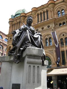 ♥ Queen Victoria, outside the QVB ~ Sydney Australia Living, Sydney Australia, Australia Travel, Victoria Building, Sydney New South Wales, Historical Images, My Town, Queen Victoria