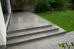 Kandla Grey Patio Pack Tumbled, Calibrated Sandstone paving slabs often the first choice for natural stone paving in your garden. Indian Sandstone provides limitless possibilities for your garden paving stone design. Guaranteed high quality and affordable Patio Steps, Garden Steps, Indian Sandstone Paving Slabs, Grey Paving, Paving Edging, Garden Room Extensions, Porch Kits, Raised Patio, Building A Porch