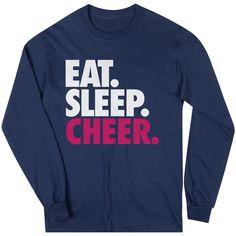 Cheerleading Youth Long Sleeve T-Shirt - Eat. Sleep. Cheer. | Navy, Girl's, S | Cheerleading Youth Apparel