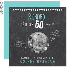 Invitations Anniversaire Adulte - 50 ans ardoise 43291 Happy 50th Birthday, 40th Birthday Parties, Man Birthday, Birthday Party Invitations, Vintage Invitations, Event Themes, Birthday Design, Milestone Birthdays, Diy Projects To Try