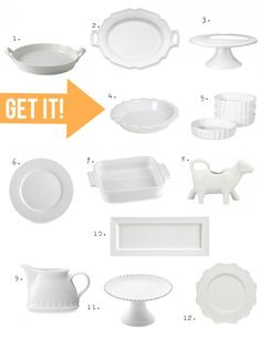 White dishes and serving pieces are a MUST in my kitchen. Check out some of my favorites on BHG's Style Spotters: http://www.bhg.com/blogs/better-homes-and-gardens-style-blog/2013/09/30/pin-it-get-it-white-dishes/