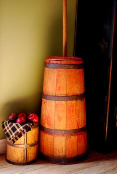 Butter Churn with original red paint.