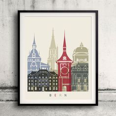 Bern skyline poster  Fine Art Print Glicee Poster by Paulrommer