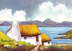 Connemara Cottage, Ireland, Watercolour Print, Size 14ins x 11ins, Mothers Day, Gift Idea, Art and Collectibles, Home and Living