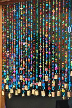 Beaded curtain-Bead Curtain- Bohemian Curtain-Window curtain-beaded door curtain-hanging door beads-beaded wall hanging-bohemian wall art by RonitPeterArt on Etsy Beaded Door Curtains, Diy Curtains, Hanging Curtains, Kitchen Curtains, Roman Curtains, Double Curtains, Farmhouse Curtains, Long Curtains, Nursery Curtains