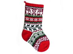 Modern shaped Christmas stocking in bright and vivid shades of Christmas. Knit stranded in the round, this stocking features easy-to-knit colourwork that never uses more than two colours in a single row. Knitted Christmas Decorations, Knit Christmas Ornaments, Knitted Christmas Stockings, Knit Stockings, Handmade Christmas, Knitting Kits, Knitting Patterns Free, Knitting Projects, Simply Knitting