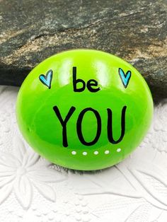 Be You, Be Yourself, Encouragement Rock, Affirmation Stone, Hand Painted Rock — Alleluia Rocks Rock Painting Patterns, Rock Painting Ideas Easy, Rock Painting Designs, Painting For Kids, Bubble Painting, Painted Rocks Craft, Hand Painted Rocks, Painted Rock Cactus, Painted River Rocks