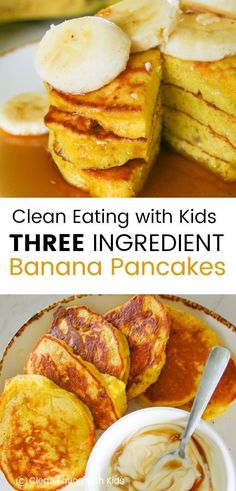 These Clean Eating Three Ingredient Banana Pancakes are quick and easy to make. … These Clean Eating Three Ingredient Banana Pancakes are quick and easy to make. Dairy free and Delicious! The perfect way to start the weekend. Clean Eating Kids, Clean Eating Snacks, Healthy Eating, Clean Eating Pancakes, Banana Recipes Clean Eating, Eating Habits, Clean Eating Breakfast, Clean Foods, Clean Eating Dinner