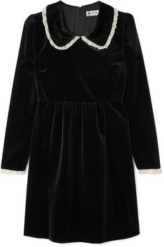 Black velvet, white lace Concealed zip fastening along back cotton Dry clean Made in France White Collar Dress, Miu Miu Sandals, Paul And Joe, 20th Century Fashion, Fashion Outfits, Fashion Trends, White Lace, Lace Trim, Velvet