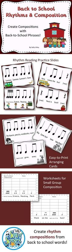 This blog post by Sally's Sea of Songs gives great ideas for rhythm reading practice or review, and also rhythm composition ideas using back-to-school phrases, for the beginning of school.
