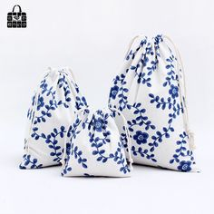 1 x Blue flower vine 100% cotton bag Travel Accessories Clothes underwear shoes toy Storage Pouch Luggage Packing Organizers bag #Affiliate
