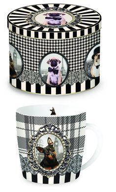 Porcelanowy kubek w blaszanym pudełku Mugs, Tableware, Gifts, Porcelain Ceramics, Dinnerware, Presents, Tumblers, Dishes, Mug