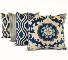 navy patterned throw pillows - Google Search