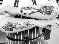 tattoos flowers knife whisk chef and Chef tattoos Chef knife whisk and flowersYou can find Culinary tattoos and more on our website Hand Tattoos, Cute Foot Tattoos, Love Tattoos, Beautiful Tattoos, Body Art Tattoos, New Tattoos, Tatoos, Knife Tattoo, Arm Tattoo