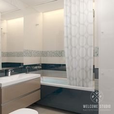 Casas de banho minimalistas por мастерская дизайна welcome studio minimalista Bathtub, Curtains, Mirror, Studio, Furniture, Home Decor, Bathrooms, Design Ideas, Good Ideas