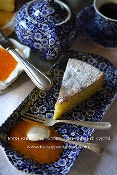 DOLCISOGNARE : Torta soffice di ricotta con salsa di cachi