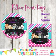 This listing is for favour tags in the KITTEN theme. This is a digital file that you print yourself and will be sent to you in PDF format. You will receive a printable file of your choice of or 2 inch circles or squares. Perfect Party, Favor Tags, All Design, Party Invitations, Party Supplies, Favors, Kitten, Handmade Items, Clip Art