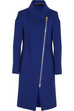 Roland Mouret Drymus Wool-Crepe Coat, $2,820 at Net-a-Porter. If you have an important meeting or party to attend, throw on this Roland Mouret coat. Its structured fit, asymmetrical zipper, slight sheen, and royal-blue color give it an undeniably polished look.