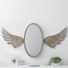 Junk Gypsy Antique Oval Mirror with Wings