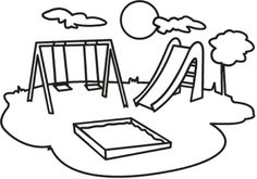 Playground Clip Art Black and White Cartoon Coloring Pages, Colouring Pages, Coloring Books, Simple Car Drawing, Drawing For Kids, Drawing Ideas, Clipart Black And White, Black And White Drawing, Persuasive Essay Outline