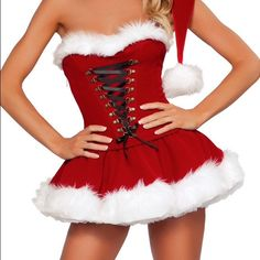 Mrs Claus Strapless Dress Santa Dress. Peticoat not included. Laces in middle to fit most. Never worn. Dresses Strapless