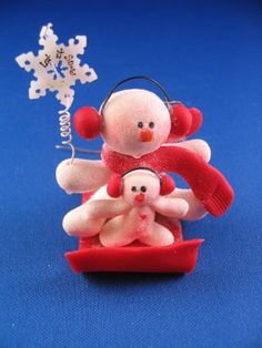 Two Snowmen on Sled - Red
