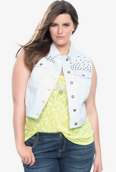 THE DENIM CROPPED VEST  Yes, you need a cropped denim vest. Why? Because, look how chic they are! This White Denim Studded Vest from Torrid comes with a little edge. Choose from different colors or denim washes too. Wear it like an accessory or just throw it over a maxi or sun dress for a little more coverage.
