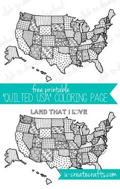 """Free Coloring Page by U Create - """"Quilted USA"""""""