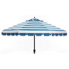Phoebe Scallop-Edge Patio Umbrella, Blue/White