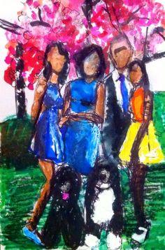 "'The First Family, The Obamas.' Mixed Media On Card. 6x4"" Inches. #RosannaJacksonWright #Art #Painting #Drawing #TheFirstFamily #Obamas #Class #Abstract #Figurative #York #England #NYC #USA #Genoa #Italy #Mexico #Philippines #Kingston #Jamaica #Bronx #Harlem"