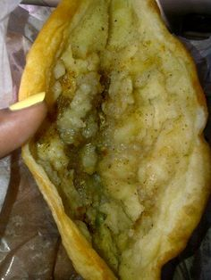 Aloo Pie with Chadon Beni from my favorite place. Caribbean Food, Caribbean Recipes, Aloo Pie, Trinidadian Recipes, Macaroni Pie, Trini Food, Island Food, Jamaican Recipes, West Indian