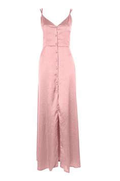 Satin Button Down Maxi Dress By Oh My Love