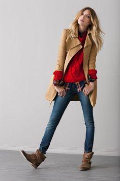 赤 style styling coordinate ニット トップス コーデ コーディネート red knit tops outfit