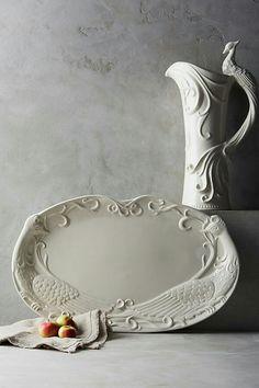 Glazed Earthenware Peacock Platter and Pitcher Tea Table Settings, Serveware, Winter White, Earthenware, Home Art, Dinnerware, Anthropologie, Ceramics, House Styles